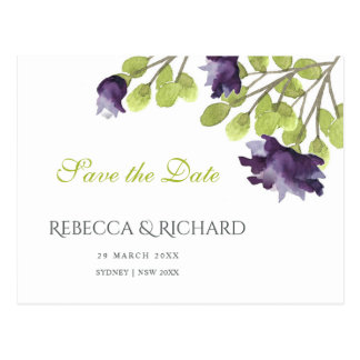 ELEGANT INK BLUE WATERCOLOUR FLORAL Save the date Postcard