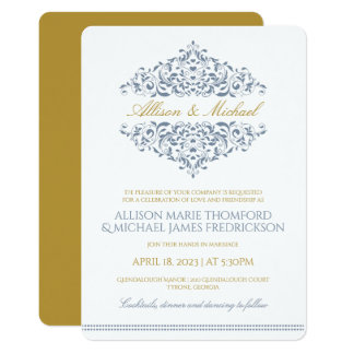 Elegant Invitation | Charlene (Dusty Blue & Gold)