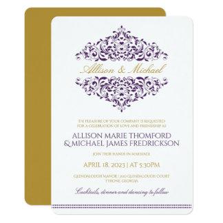 Elegant Invitation-Charlene (Plum / Purple & Gold) Card