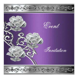 Elegant Invitation Purple Silver Floral Jewel