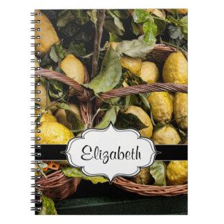 Elegant Italian Lemons in a Basket Notebook