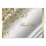 Elegant Ivory and Gold Thank You Greeting Cards