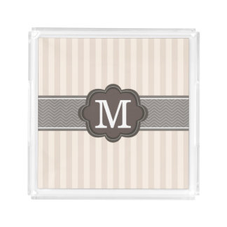 Elegant Ivory Beige Stripes Brown Custom Monogram Acrylic Tray