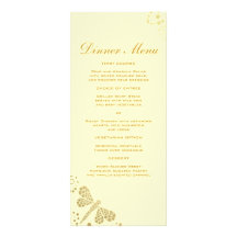Elegant Ivory & Gold Dragonfly Slim Dinner Menu Rack Cards