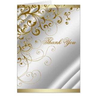 Elegant Ivory Gold Swirl Thank You Card