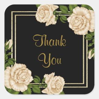Elegant Ivory Roses & Glitter Birthday Thank You Square Sticker