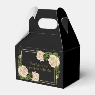 Elegant Ivory Roses & Gold Glitter 18th Birthday Favour Box