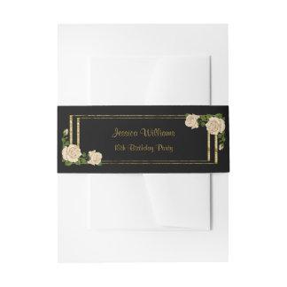 Elegant Ivory Roses & Gold Glitter 18th Birthday Invitation Belly Band