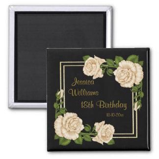 Elegant Ivory Roses & Gold Glitter 18th Birthday Square Magnet