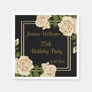 Elegant Ivory Roses & Gold Glitter 25th Birthday Paper Serviettes