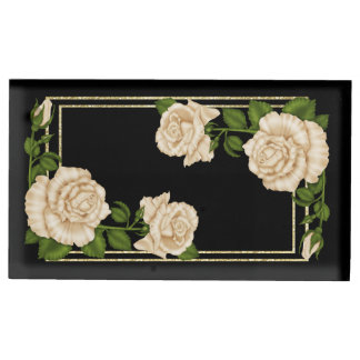 Elegant Ivory Roses & Gold Glitter Table Card Holder