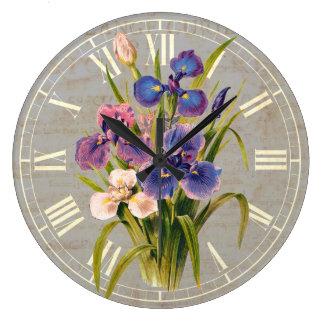 Elegant Japanese Purple Irises Antique Style Large Clock