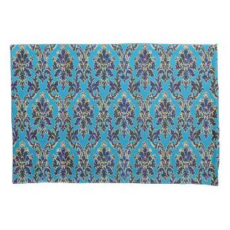 Elegant Jeweled Damask on Blue Pillowcases
