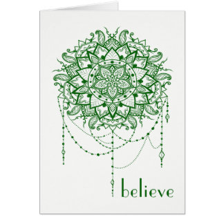 "Elegant Jeweled Zen Mandala ""Believe"" Card"