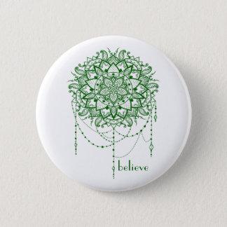 "Elegant Jewelled Zen Mandala ""Believe"" 6 Cm Round Badge"