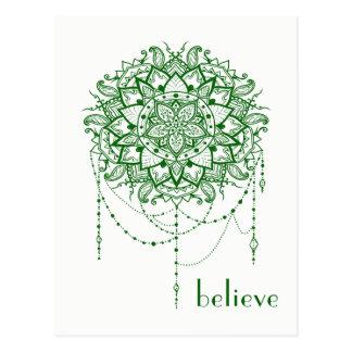 """Elegant Jewelled Zen Mandala """"Believe"""" Postcard"""