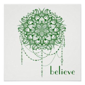 "Elegant Jewelled Zen Mandala ""Believe"" Poster"