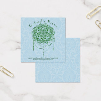 Elegant Jewelled Zen Mandala Calling/ Square Business Card