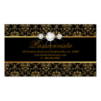 Elegant Jewelry Diamonds Gold Black Damask Pack Of Standard Business Cards
