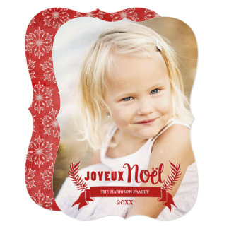 Elegant Joyeux Noel Holiday Photo Card / Red