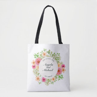Elegant Just Married Floral Wedding Tote Bag