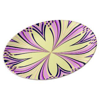 Elegant kaleidoscope art flower yellow purple pink porcelain plates