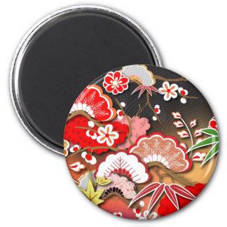 Elegant Kimono - Japanese Design 6 Cm Round Magnet