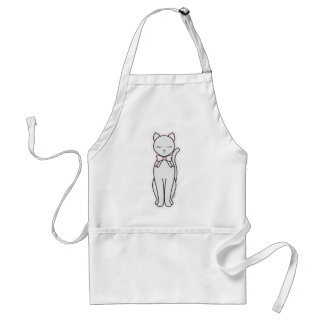 Elegant Kitty with Pink Bow Adult Apron