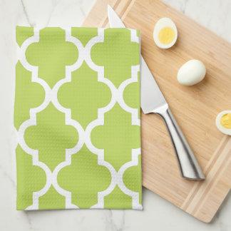 Elegant Kiwi Green Quatrefoil Tiles Pattern Tea Towel