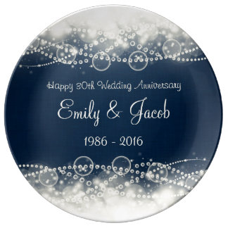 Elegant Lace and Pearls 30th Wedding Anniversary Plate