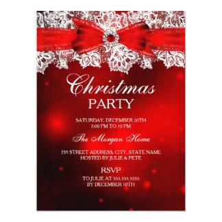 "Elegant Lace & Bow Christmas Holiday Invitation 6.5"" X 8.75"" Invitation Card"