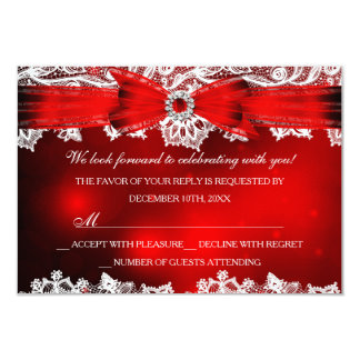 Elegant Lace & Bow Christmas Holiday RSVP 9 Cm X 13 Cm Invitation Card