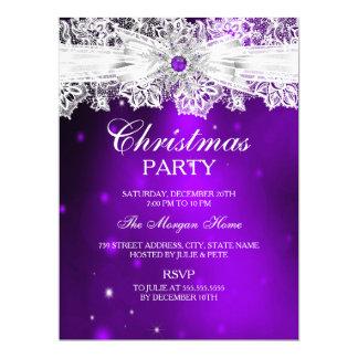 Elegant Lace Bow Purple Christmas Holiday Party 17 Cm X 22 Cm Invitation Card