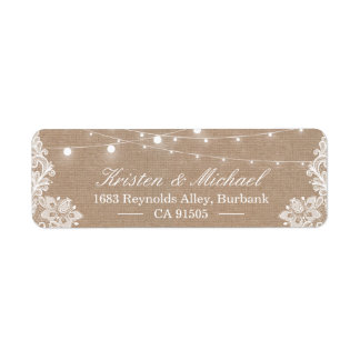Elegant Lace Burlap Rustic Country String Lights Return Address Label
