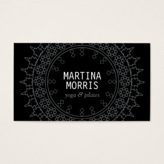Elegant Lace-Inspired Decorative Circle Black/Gray Business Card