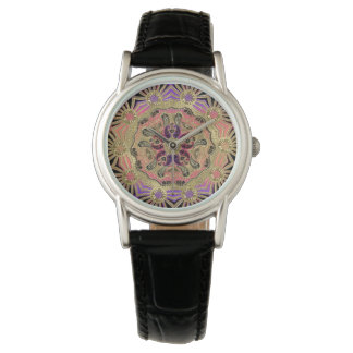 Elegant Lace Mandala On Gold Watch