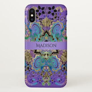 Elegant Lace Mandala Purple Gold iPhone X Case