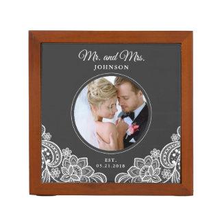 Elegant Lace Mr. and Mrs. Photo Desk Organizer