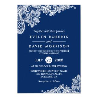 Elegant Lace Navy Blue White Formal Wedding 13 Cm X 18 Cm Invitation Card