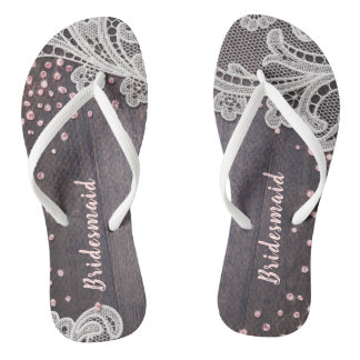 Elegant Lace rustic wood blush glitter bridesmaid Thongs