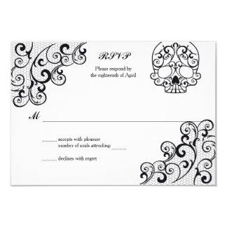 Elegant Lace Skull Calavera RSVP Card