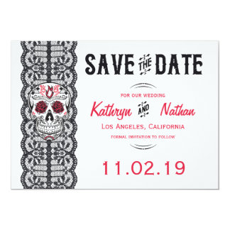 Elegant Lace Sugar Skull Save the Date cards