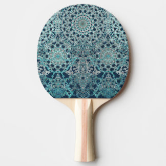 Elegant laced turquoise pattern ping pong paddle