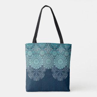 Elegant laced turquoise pattern tote bag