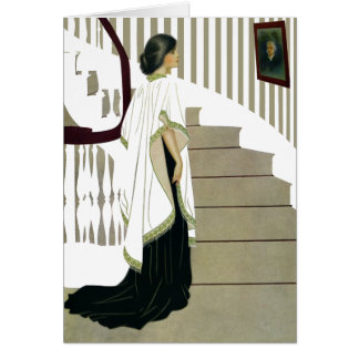 Elegant Lady Ascends the Staircase Card