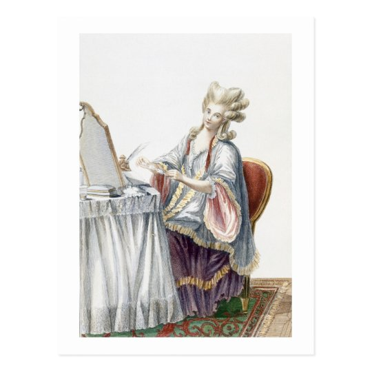 Elegant Lady at her Dressing Table, plate from 'Ga Postcard