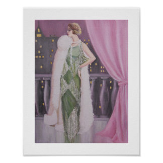 Elegant Lady On A Balcony, Poster