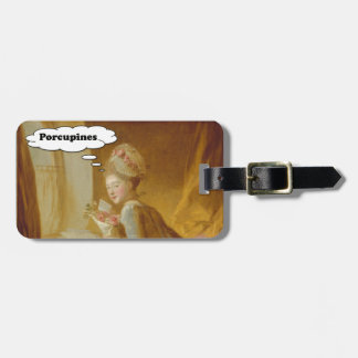 Elegant Lady Thinks About Porcupines Luggage Tag