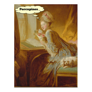 Elegant Lady Thinks About Porcupines Postcard