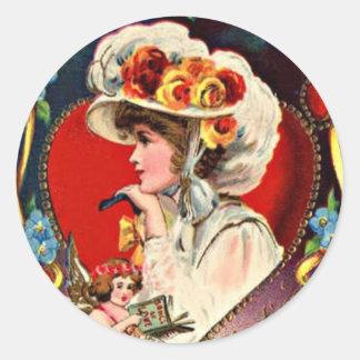 Elegant Lady Valentine Classic Round Sticker